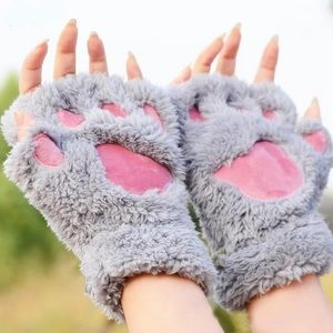 Cute Winter Fluffy Paws Gloves Open Fingers